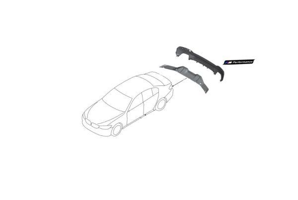 1x Nowa Oryginalna Nakładka na Zderzak Dyfuzor Spoiler Tył Carbon BMW 5' G30  M PERFORMANCE 5112341241