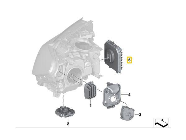 1x Nowy Oryginalny Moduł Sterownik LED  do Reflektorów Adaptacyjnych / Skrętnych Bmw 5 G30 G31 6 G32 GT 7 G11 G12 X3 G01 Phantom RR11 63118491415