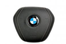 1x Nowa Oryginalna Poduszka Powietrzna Airbag Kierownicy Czarna Skóra z Szarą Nitką BMW 5` G30 G31 7` G11 G12 32306876405